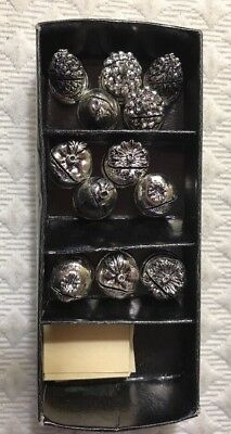 Lot of 12 Pewter  Name Number Table Place Card Holder 6 Different Fruits & Cards