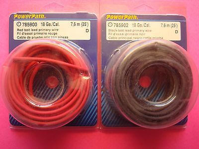 50ft 18ga TEST LEAD PRIMARY POWER GROUND WIRE 25ft BLACK 25ft RED MADE IN USA