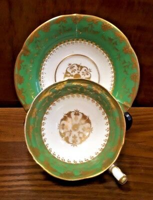Antique MINTON c1823 Tea Duo Cup & Saucer Pattern 554 Vibrant Green & Gilt