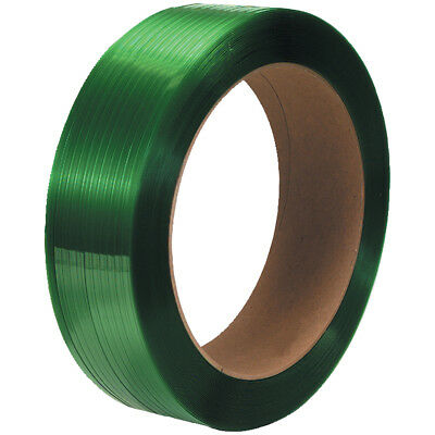"Box Partners Polyester Strapping Smooth 16"" x 3"" Core 5/8"" x 2200' Green 2 /Case"