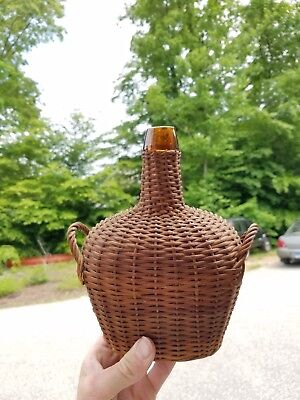 Very Nice Amber 1870s-1880s Wicker Covered Kidney Shaped Demijohn Bottle