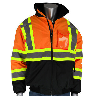 PIP Class 3 Reflective X-Back Safety Bomber Jacket with Liner, Orange