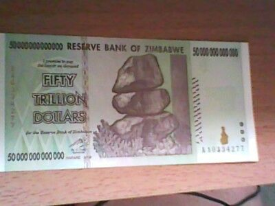Zimbabwe 50 Trillion Dollars 2008AA  Uncirculated excellent condition