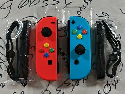 NEW​ Nintendo Switch Original Neon Red (L) & Blue (R) Joy Cons w/ SNES Buttons