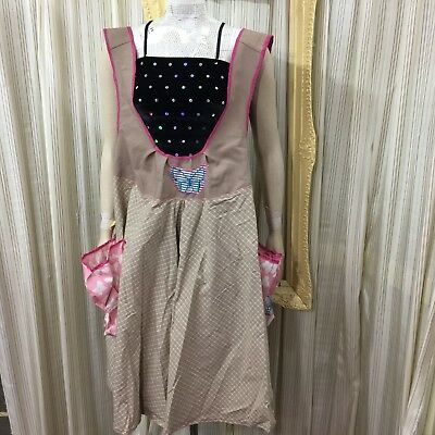 Fun butterfly crossback apron with pockets brown plaid cotton Geechlark 5244