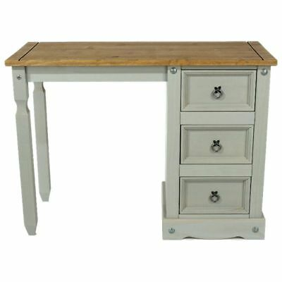 Corona Grey Washed Dressing Table, Pine Top, 3 Drawers. Left or Right Pedestal.