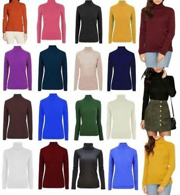 Ladies Women Knitted Polo Neck Casual Long Sleeve Warm Ribbed Top High Jumper