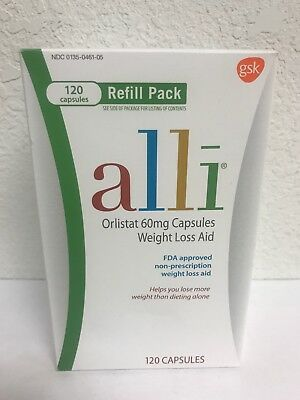 Alli Orlistat 60 mg Weight Loss Aid 120 Capsules Refill Pack EXP. 01/2020