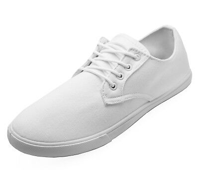 Mens Lace-Up White Canvas Flat Trainer Plimsoll Pumps Casual Shoes Sizes 6-12