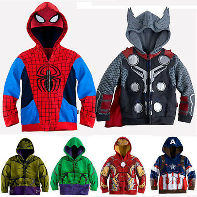 Kids Boys Hoodie Jacket Iron Man Captain America Hulk Costume Superhero Outwear