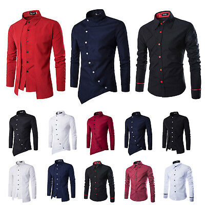 Mens Button Down Casual Slim Fit Long Sleeve Dress Business Shirts Working Tops