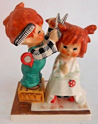 Vintage Goebel Redheads Figurine Boy Cutting Girls Hair By Charlotte Byj