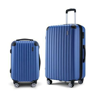 2Pc Hard Shell Luggage Suitcase Set-Blue With TSA Lock