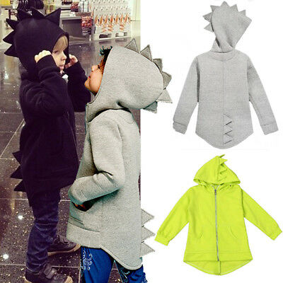 Kids Toddler Boys Dinosaur Jacket Zip Hoodie Casual Cute Long Sleeve T-shirts US