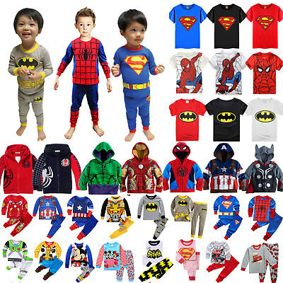 Kids Boys Superhero Mickey Casual Pullover Long Sleeve Hoodie T Shirt Tops Pants