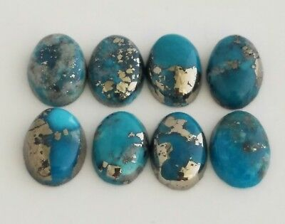 8 Oval Shaped 100% Genuine Persian Turquoise Cabochons 8x11mm