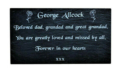 Personalised Engraved Slate Stone Memorial Headstone Grave Marker Plaque