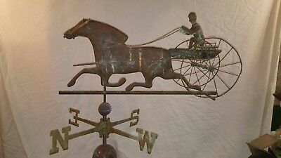"""SULKY DRIVER & HORSE"" WEATHERVANE silicon bronze directionals stainless steel"