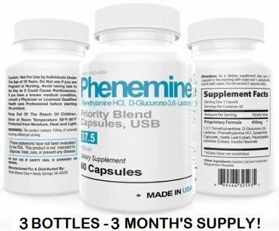 3  Phenemine Slimming Best 37.5 Diet Pills Appetite Suppressant Supplement 375 P