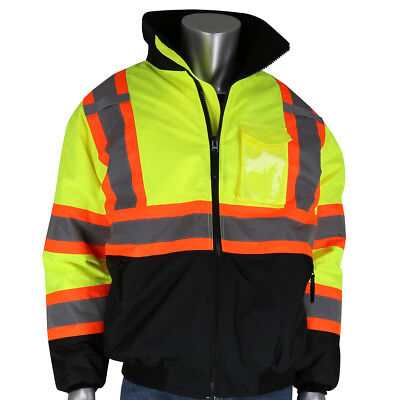 PIP Class 3 Reflective X-Back Safety Bomber Jacket with Liner, Yellow/Lime
