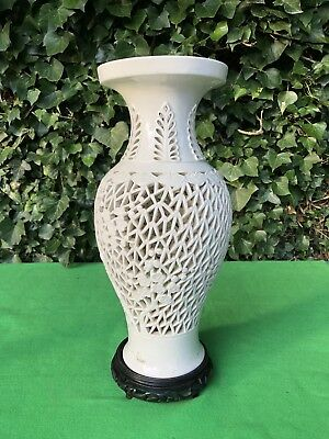 Stunning Large Vintage Chinese Blanc De Chine Lattice Vase Large White