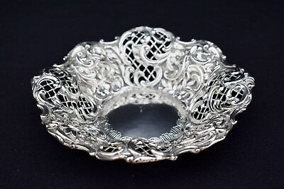 Exquisite Victorian Solid Sterling Silver 925 Trinket Tray By Henry Manton 1876