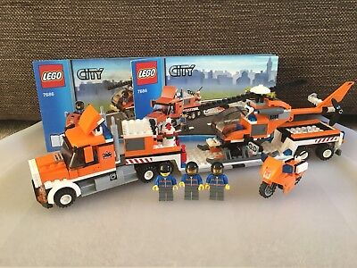 Lego 7686 City Helicopter Transporter Truck Helicopter Bike Box