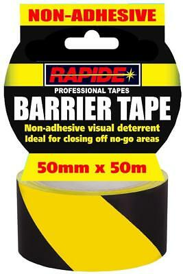 Hazard Warning Barrier Tape Roll Non Adhesive Yellow & Black 50mm x 50 meters UK