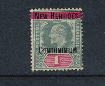 New HEBRIDES  1908 1 shilling Green & Carmine S G 3 Mint Hinged Cat £28.0