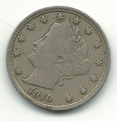 Better Grade 1910 Liberty Head V Nickel Coin-Old Us Coin-Apr335