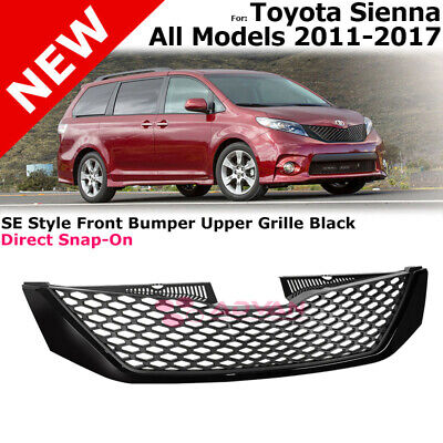 For 11-17 Toyota Sienna Front Upper Grille Top Insert SE Style Glossy Black