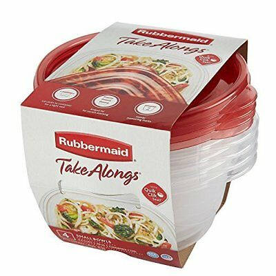 Rubbermaid TakeAlongs Small Food Storage Container Bowls, 3.2 Cup, Tint Chili,