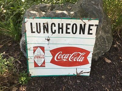 Vintage Coca Cola Luncheonete Fishtail Diamond Flat Top 12 Ounce Can Metal Sign