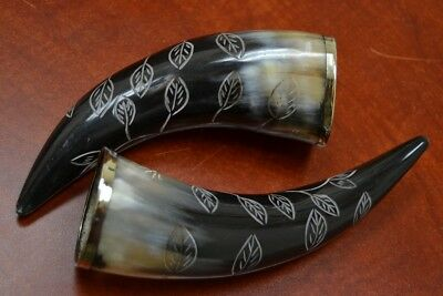 "2 Pcs Carved Leaf Buffalo Horn Game Of Throne Medieval Drinking Cup 8"" #t-2829"
