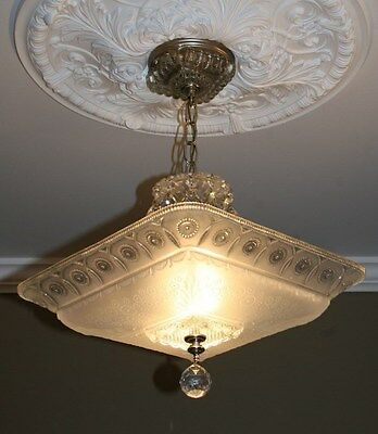 Antique large square frosted glass art deco custom light fixture chandelier