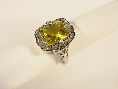 Sterling Silver Antique Style Ring With Large Yellow Stone
