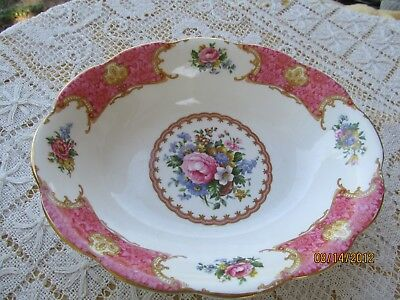 "Royal Albert Lady Carlyle  England Oval Vegetable Serving Bowl 8"" Pink Floral"