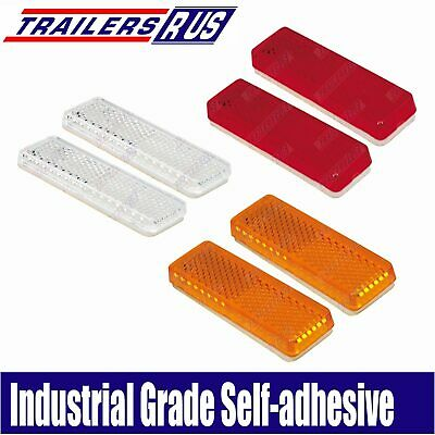 6 x Mixed Red Amber White Reflector 85mm x 22mm Self Adhesive Trailer Caravan