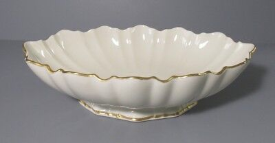 Lenox Oval Footed Serving Dish / Bowl with Scalloped Rim and Gold Trim