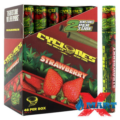 24x Cyclones STRAWBERRY Flavored Pre-Rolled Cone Hemp Wraps Tubes