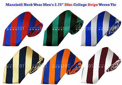 "Manzini® Neck Wear Men's 2.75"" SLIM College Stripe Woven Tie"