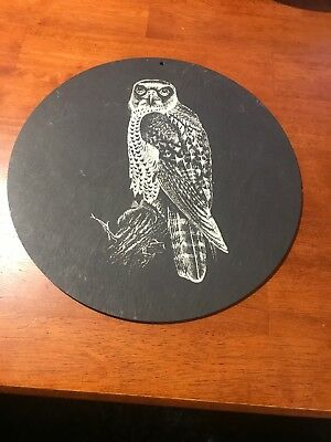 Vintage Hawk on 500 Million Year Old Natural Slate Handcrafted In Scotland