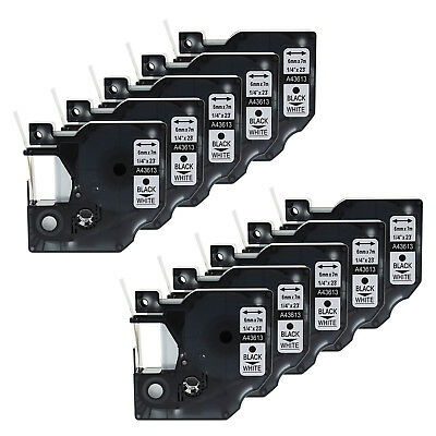 10PK Black on White Polyester Label Tape for Dymo D1 43613 6mm LabelManager 450