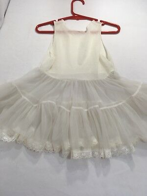 Girl's Slip - Vintage Off White, double tiered skirt with lace edging, Mexico