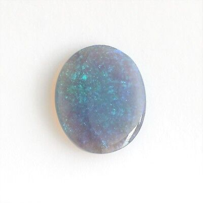 Natural Solid Black Crystal Opal 1.77Ct Lightning Ridge Oval Stone Light Blue