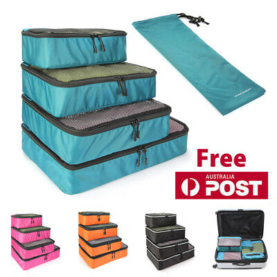 5pcs Packing Cube Pouch Shoes Clothes Storage Bags Travel Luggage Organizer AU