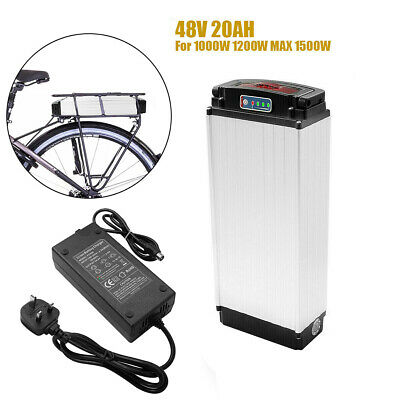 48V 20Ah 1000W LED Rear Rack lithium Battery Charger Kit E-bike Electric Bicycle
