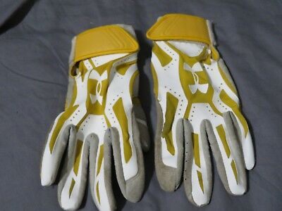 Men's Under Armour Yellow White & Gray Batting Gloves Size Large - Used