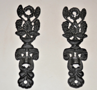 """Pair of Vintage Ornate Wrought Iron Wall Window Decor, 7"""" x 2"""" Each , #3755"""