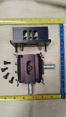 Xy Axis Centering Stage  Parker Hannifin Micrometers W/Z Axis Lockable Mount